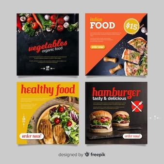 Bannière de nourriture saine carrée photographique