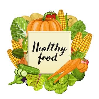 Bannière de nourriture saine avec des légumes