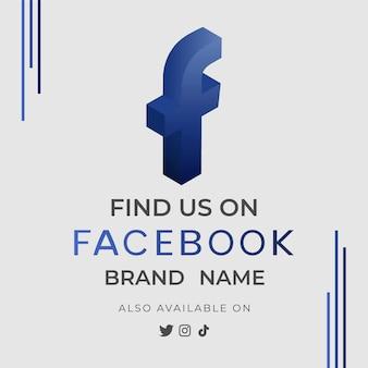 Bannière nous trouver facebook avec icône