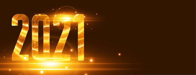 Bannière de nouvel an 2021 brillante avec effet de lumières dorées