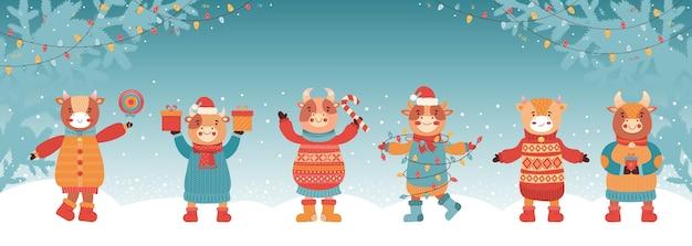 Bannière de nouvel an ou de noël. taureau avec cadeau et doux. 2021 année du bœuf. branche de sapin et guirlandes