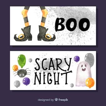 Bannière nuit effrayante aquarelle halloween
