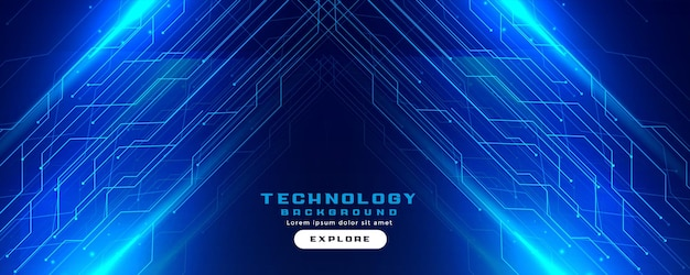Bannière numérique de lignes de circuit technologique