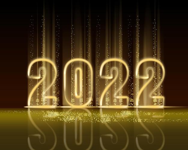 Bannière de numéros brillants de couleur or brillant du nouvel an 2022 lumière de flash de texte réaliste