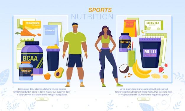Bannière de nutrition sportive pour homme et femme actifs