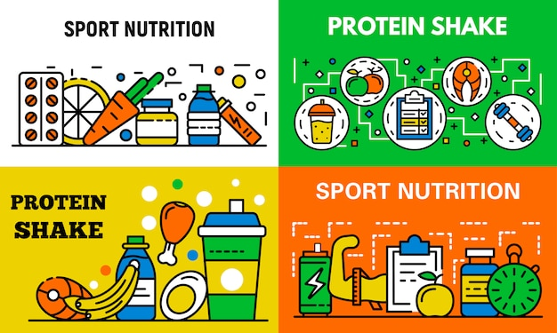 Bannière de nutrition sportive, style de contour