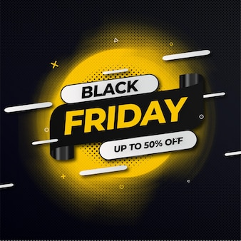Bannière d'offre abstraite black friday avec style memphis