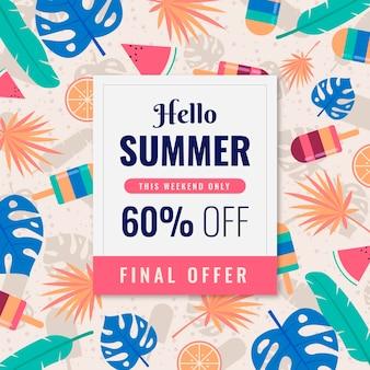Bannière d'offre finale de vente d'été design plat