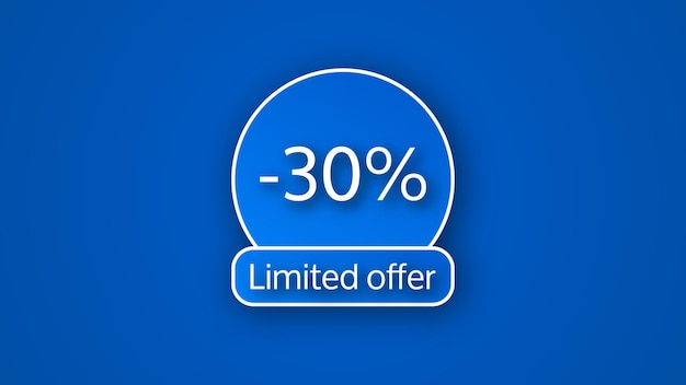 Bannière d'offre limitée bleue avec une remise de 30 %. chiffres blancs sur fond bleu avec ombre. illustration vectorielle
