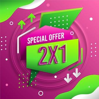 Bannière d'offre spéciale 2x1 pointillée