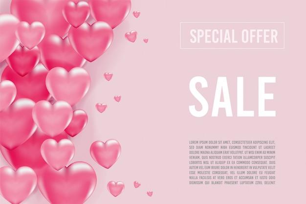 Bannière d'offre spéciale avec coeurs 3d, bannière de la saint-valentin