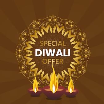 Bannière de l'offre spéciale happy diwali