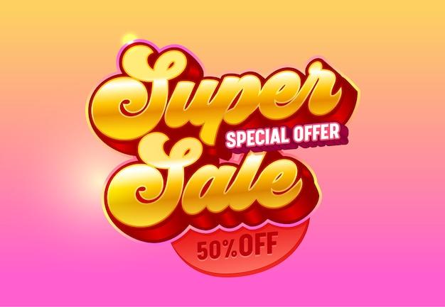 Bannière d'offre spéciale de typographie d'or 3d de super vente