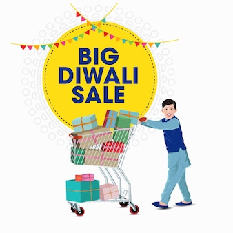Bannière d'offre de vente diwali indian kid
