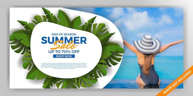 Bannière d'offre de vente d'été avec modèle de décoration de feuilles tropicales vertes