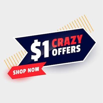 Bannière d'offre de vente folle d'un dollar