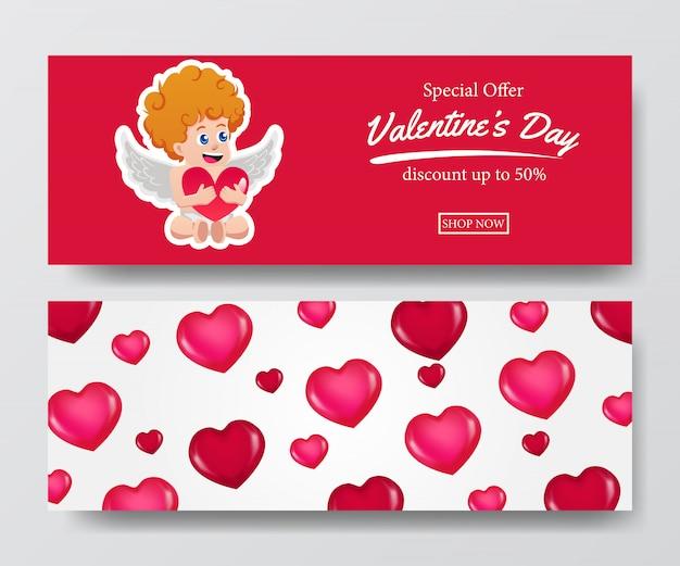 Bannière offre de vente saint valentin avec cupidon
