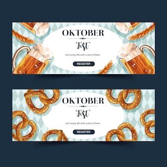 Bannière oktoberfest avec bière, bretzel