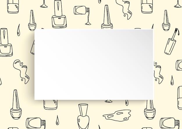 Bannière à ongles avec motif de manucure doodle.