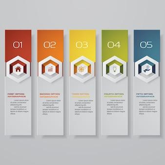 Bannière d'option en 5 étapes pour la présentation.