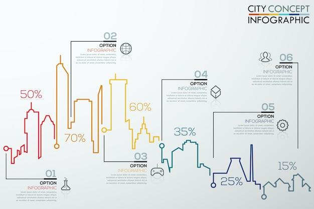 Bannière option infographie moderne avec graphique à barres ville colorée