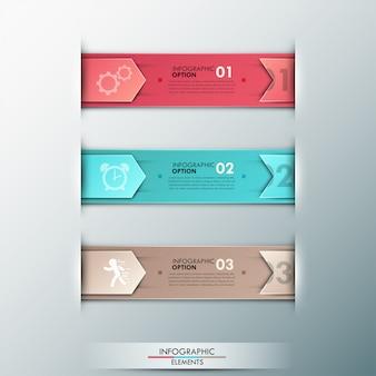Bannière d'options 3d infographie moderne avec des rubans