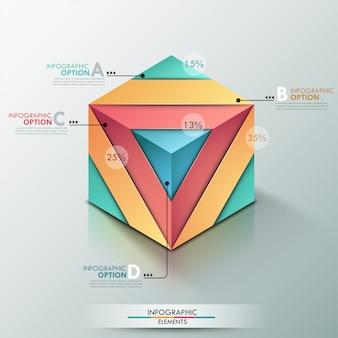 Bannière d'options infographie moderne 3d avec cube réaliste
