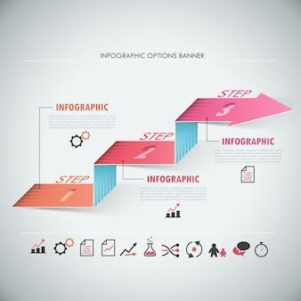Bannière d'options infographie moderne 3d avec flèche réaliste