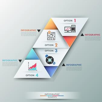 Bannière d'options infographie moderne 3d avec triangles