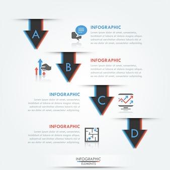 Bannière d'options d'infographie moderne avec 4 flèches inhabituelles