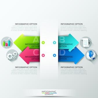 Bannière d'options d'infographie moderne avec 4 flèches en papier