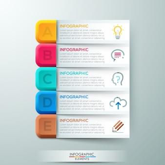Bannière d'options d'infographie moderne avec 5 rubans