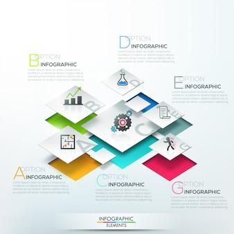 Bannière d'options infographie moderne avec des blocs blancs 3d