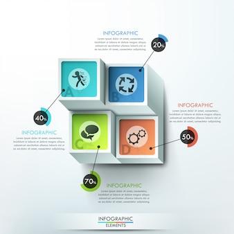 Bannière d'options infographie moderne avec des blocs colorés