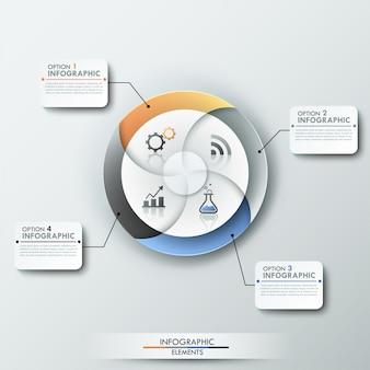 Bannière d'options d'infographie moderne avec camembert en 4 parties