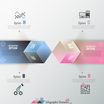 Bannière d'options d'infographie moderne avec des cubes