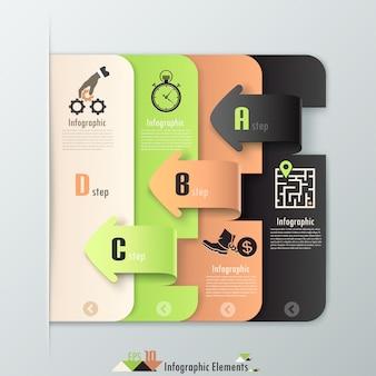 Bannière d'options d'infographie moderne avec des feuilles de papier