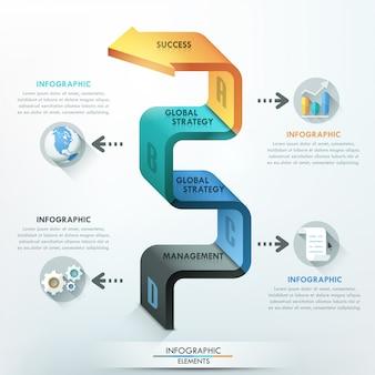 Bannière d'options infographie moderne avec flèche 3d