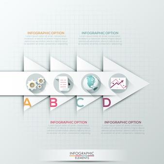 Bannière d'options infographie moderne avec des flèches blanches