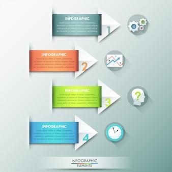 Bannière d'options infographie moderne avec des flèches de papier inhabituelles