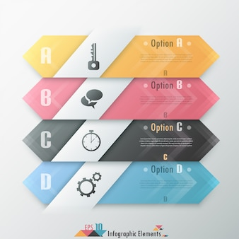 Bannière d'options infographie moderne avec des flèches