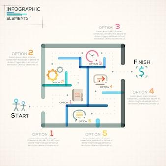 Bannière d'options infographie moderne avec labyrinthe coloré