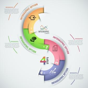 Bannière d'options infographie moderne avec modèle de processus