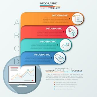 Bannière d'options d'infographie moderne pour 4 options