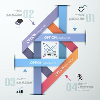 Bannière d'options infographie moderne avec pyramide colorée