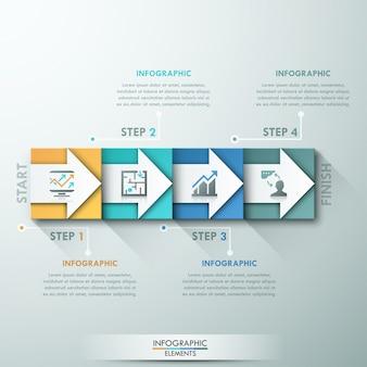 Bannière d'options infographie moderne avec des rectangles colorés