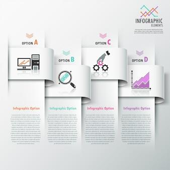 Bannière d'options d'infographie moderne avec des rubans
