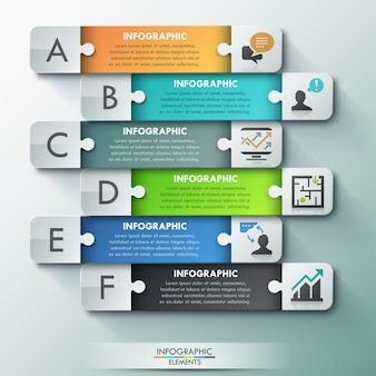 Bannière d'options de puzzle d'infographie moderne