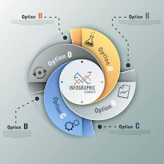 Bannière d'options spirale infographie moderne