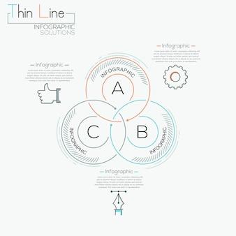 Bannière d'options de style de commerce moderne cercle intersection ligne